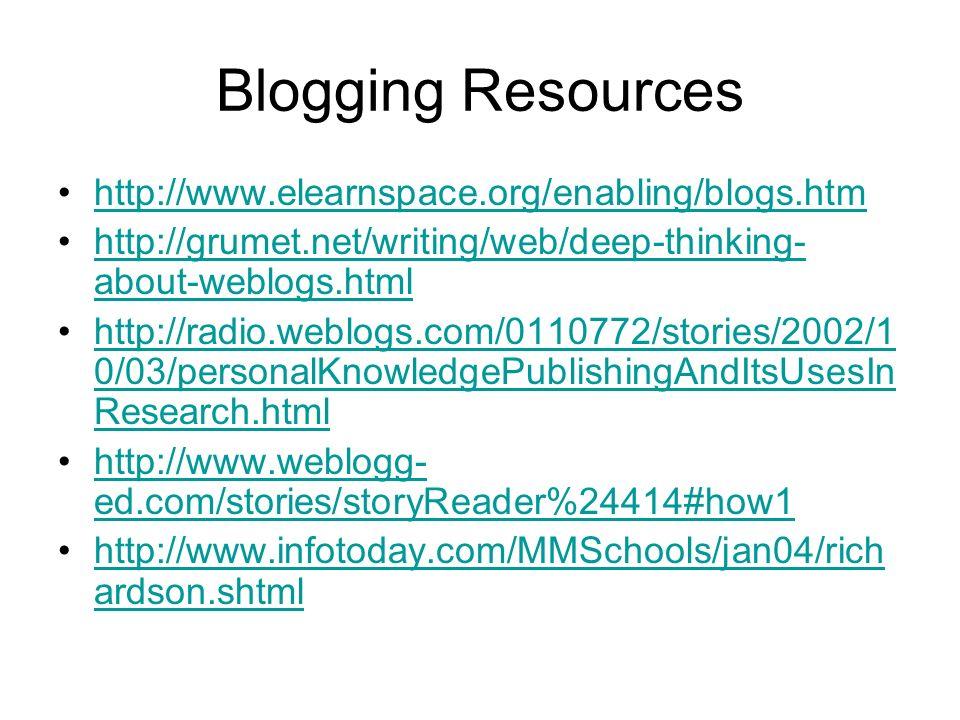 Blogging Resources http://www.elearnspace.org/enabling/blogs.htm http://grumet.net/writing/web/deep-thinking- about-weblogs.htmlhttp://grumet.net/writing/web/deep-thinking- about-weblogs.html http://radio.weblogs.com/0110772/stories/2002/1 0/03/personalKnowledgePublishingAndItsUsesIn Research.htmlhttp://radio.weblogs.com/0110772/stories/2002/1 0/03/personalKnowledgePublishingAndItsUsesIn Research.html http://www.weblogg- ed.com/stories/storyReader%24414#how1http://www.weblogg- ed.com/stories/storyReader%24414#how1 http://www.infotoday.com/MMSchools/jan04/rich ardson.shtmlhttp://www.infotoday.com/MMSchools/jan04/rich ardson.shtml
