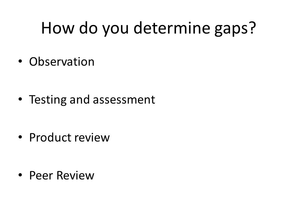 How do you determine gaps Observation Testing and assessment Product review Peer Review