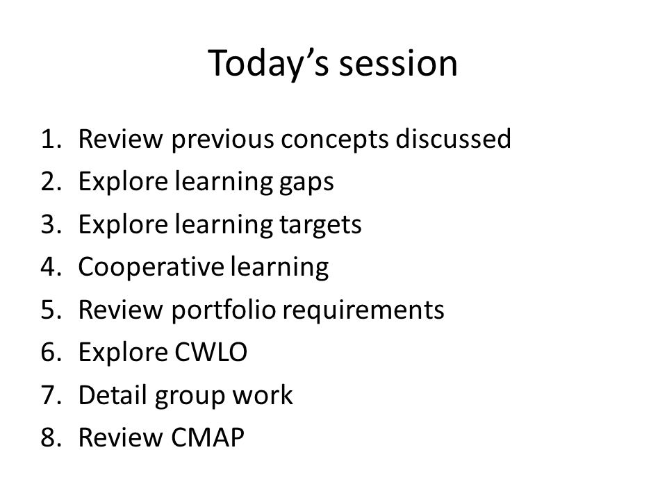 Todays session 1.Review previous concepts discussed 2.Explore learning gaps 3.Explore learning targets 4.Cooperative learning 5.Review portfolio requirements 6.Explore CWLO 7.Detail group work 8.Review CMAP