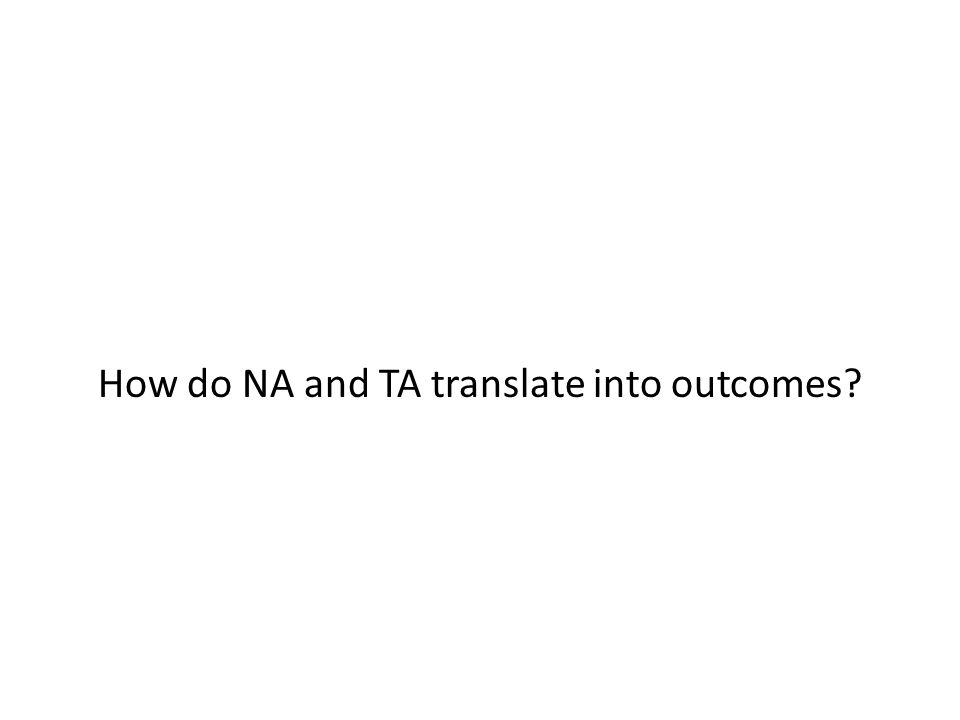 How do NA and TA translate into outcomes