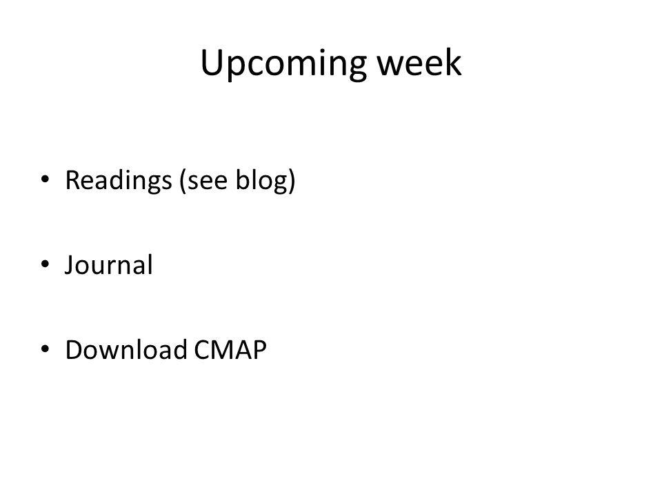 Upcoming week Readings (see blog) Journal Download CMAP