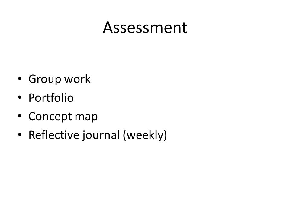 Assessment Group work Portfolio Concept map Reflective journal (weekly)