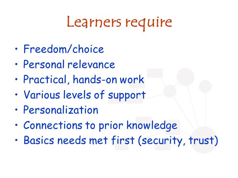 Learners require Freedom/choice Personal relevance Practical, hands-on work Various levels of support Personalization Connections to prior knowledge B