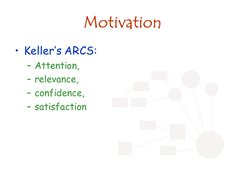 Motivation Kellers ARCS: –Attention, –relevance, –confidence, –satisfaction