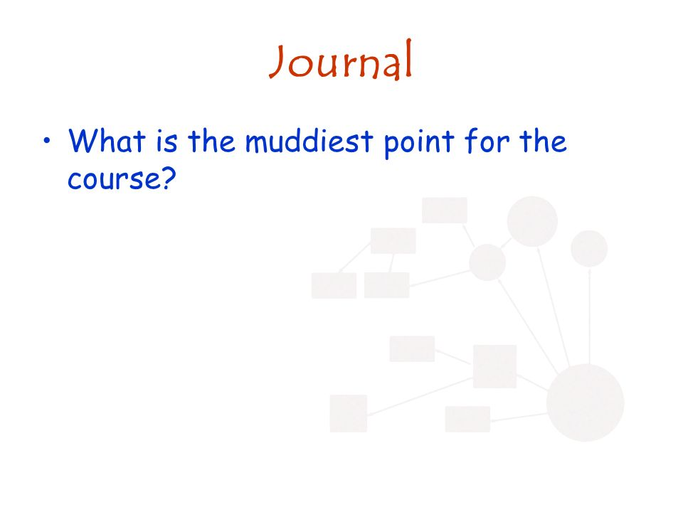 Journal What is the muddiest point for the course?