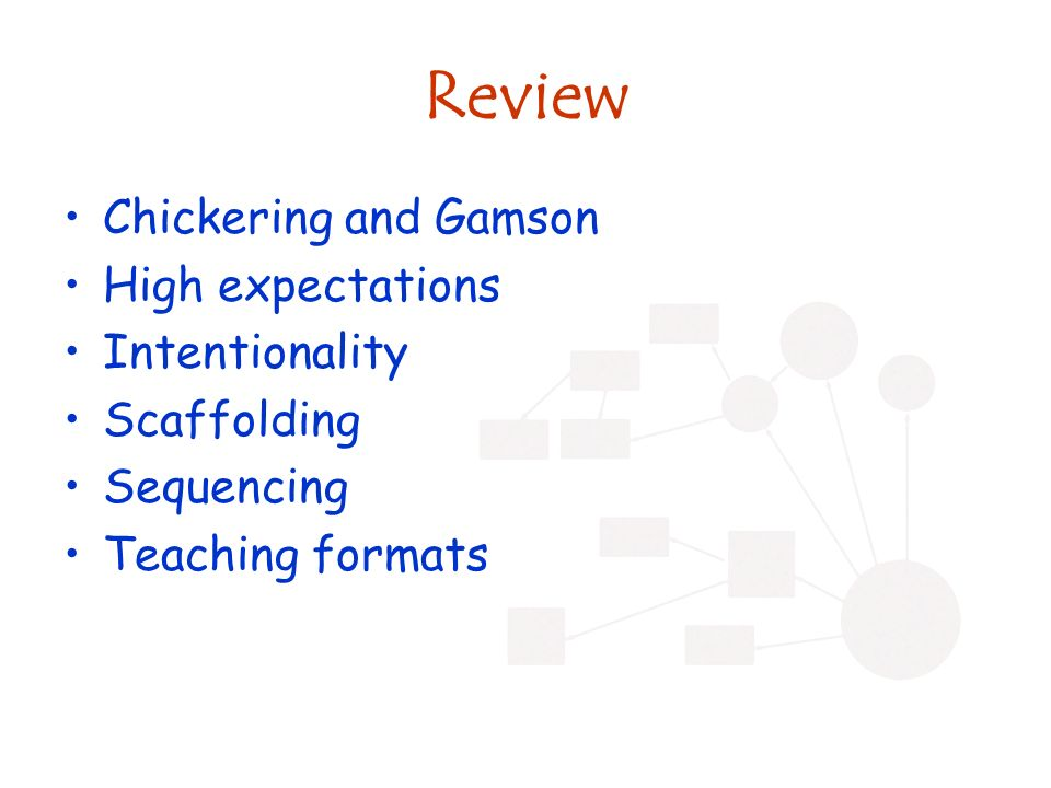 Review Chickering and Gamson High expectations Intentionality Scaffolding Sequencing Teaching formats