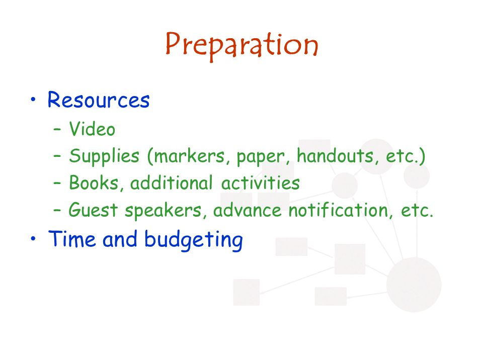 Preparation Resources –Video –Supplies (markers, paper, handouts, etc.) –Books, additional activities –Guest speakers, advance notification, etc.