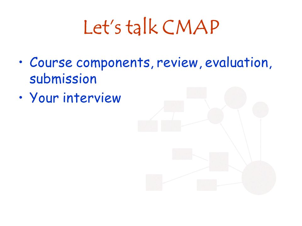 Lets talk CMAP Course components, review, evaluation, submission Your interview