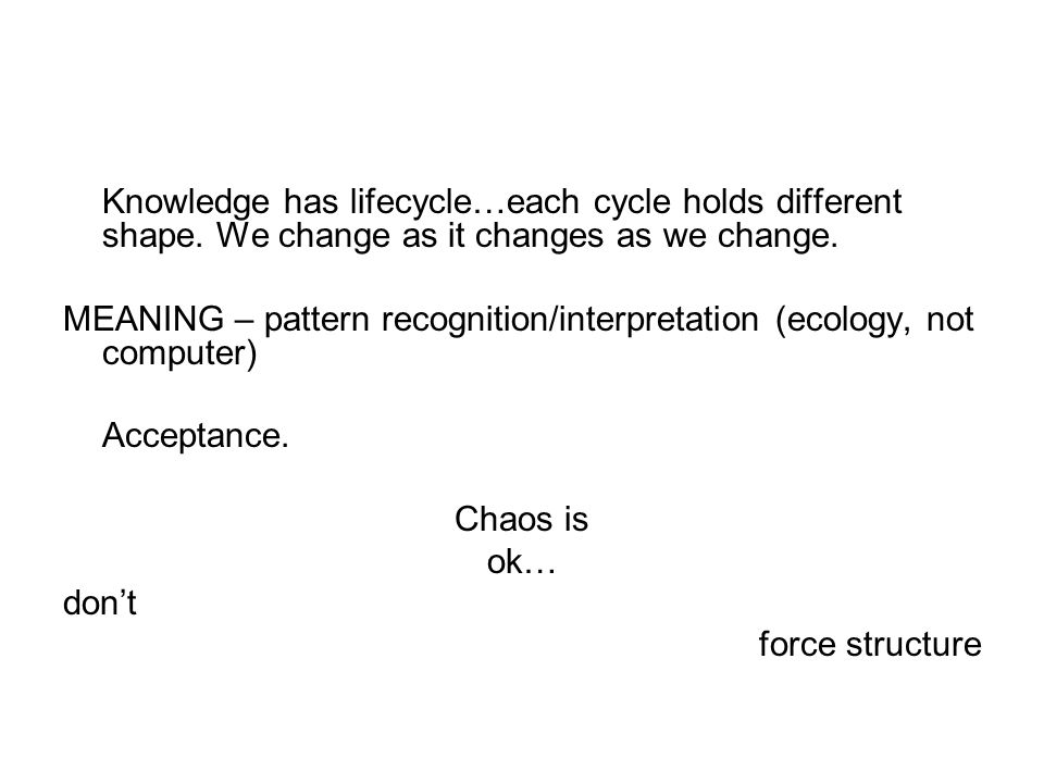 Knowledge has lifecycle…each cycle holds different shape.