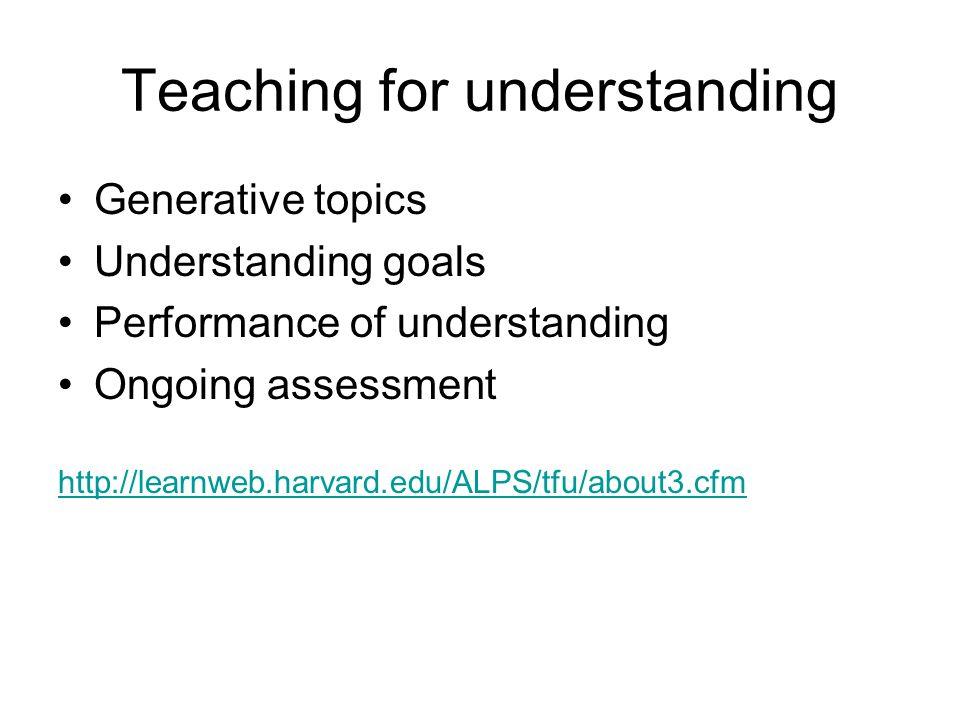 Teaching for understanding Generative topics Understanding goals Performance of understanding Ongoing assessment http://learnweb.harvard.edu/ALPS/tfu/about3.cfm
