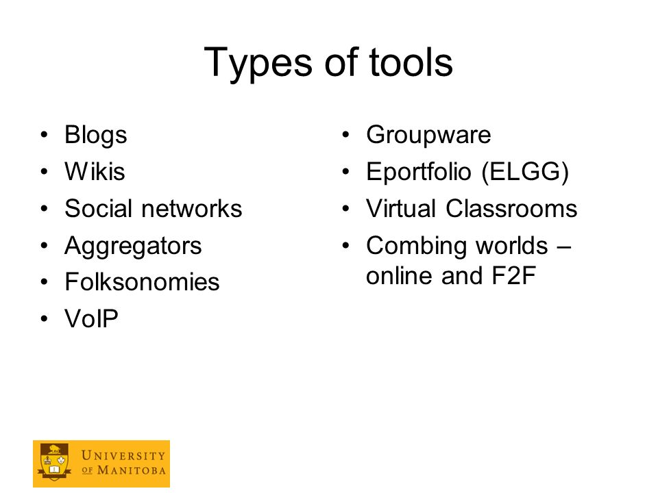 Types of tools Blogs Wikis Social networks Aggregators Folksonomies VoIP Groupware Eportfolio (ELGG) Virtual Classrooms Combing worlds – online and F2F