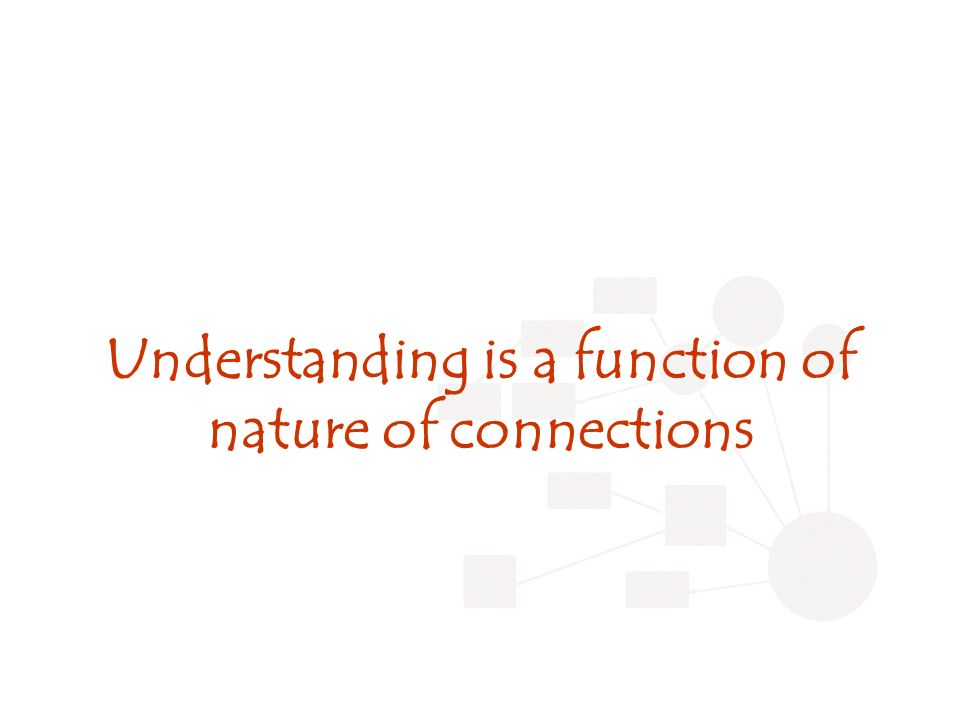 Understanding is a function of nature of connections