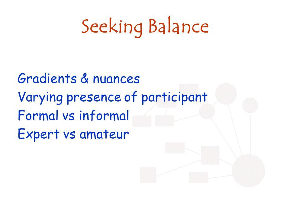 Seeking Balance Gradients & nuances Varying presence of participant Formal vs informal Expert vs amateur