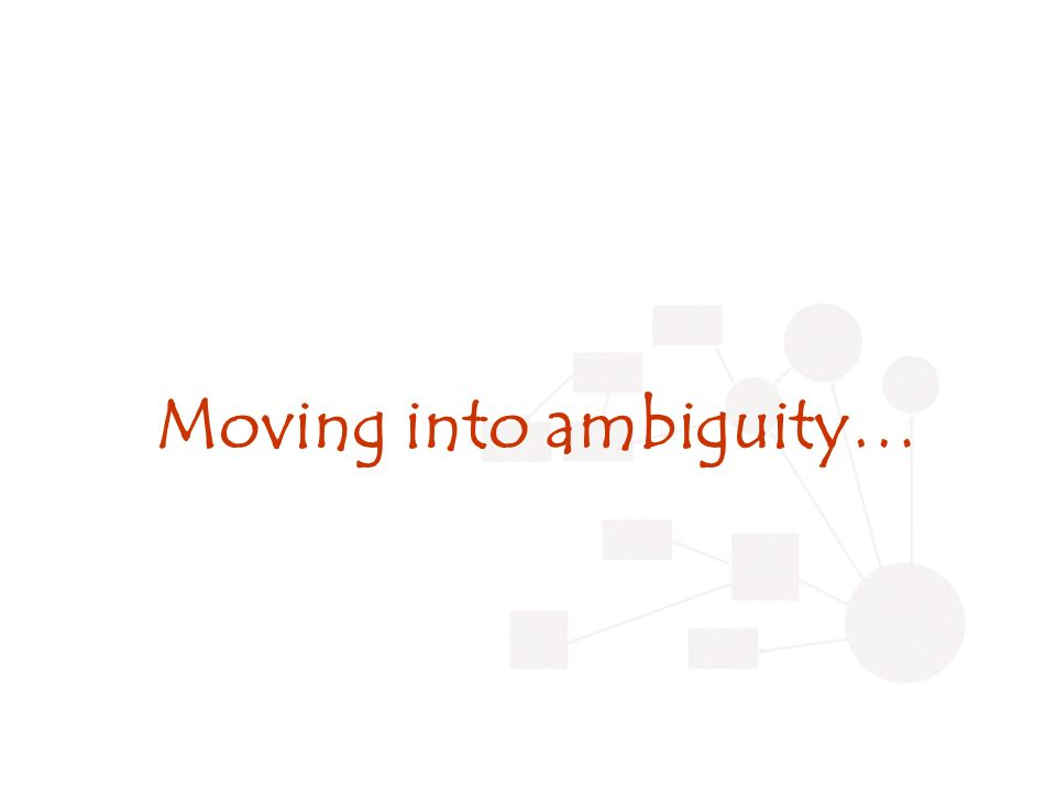 Moving into ambiguity…