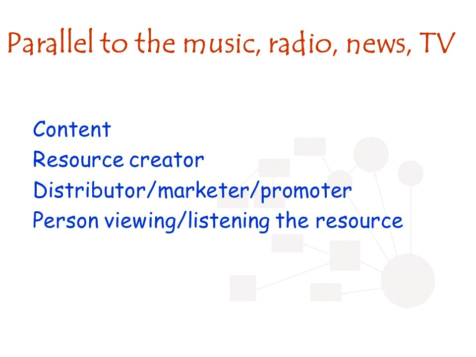 Parallel to the music, radio, news, TV Content Resource creator Distributor/marketer/promoter Person viewing/listening the resource