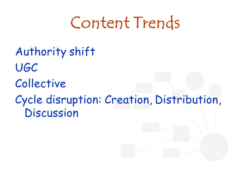 Content Trends Authority shift UGC Collective Cycle disruption: Creation, Distribution, Discussion