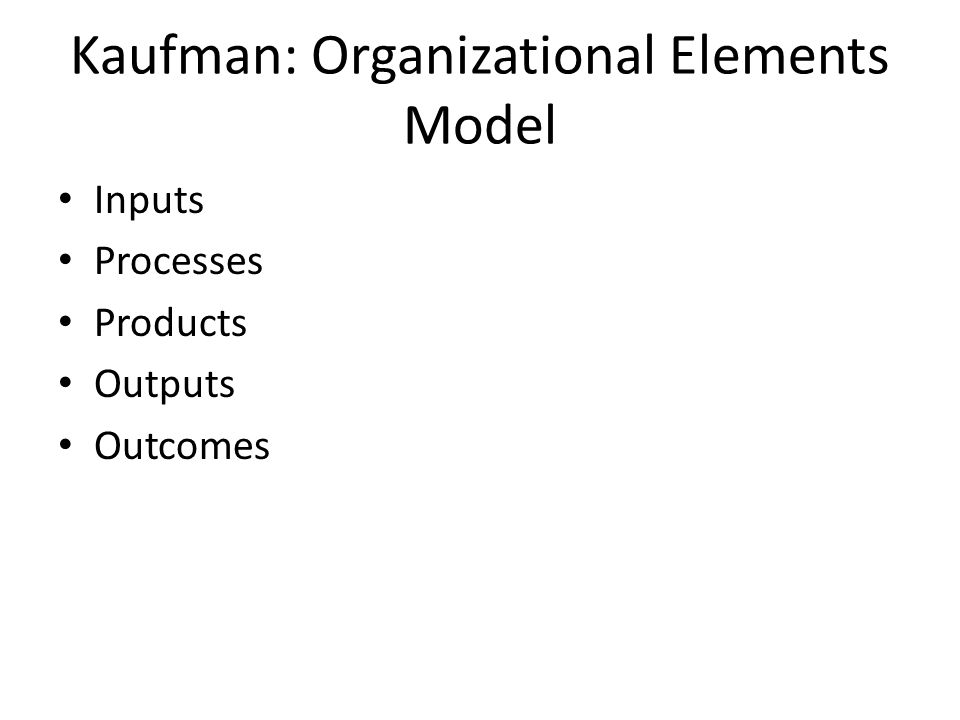 Kaufman: Organizational Elements Model Inputs Processes Products Outputs Outcomes