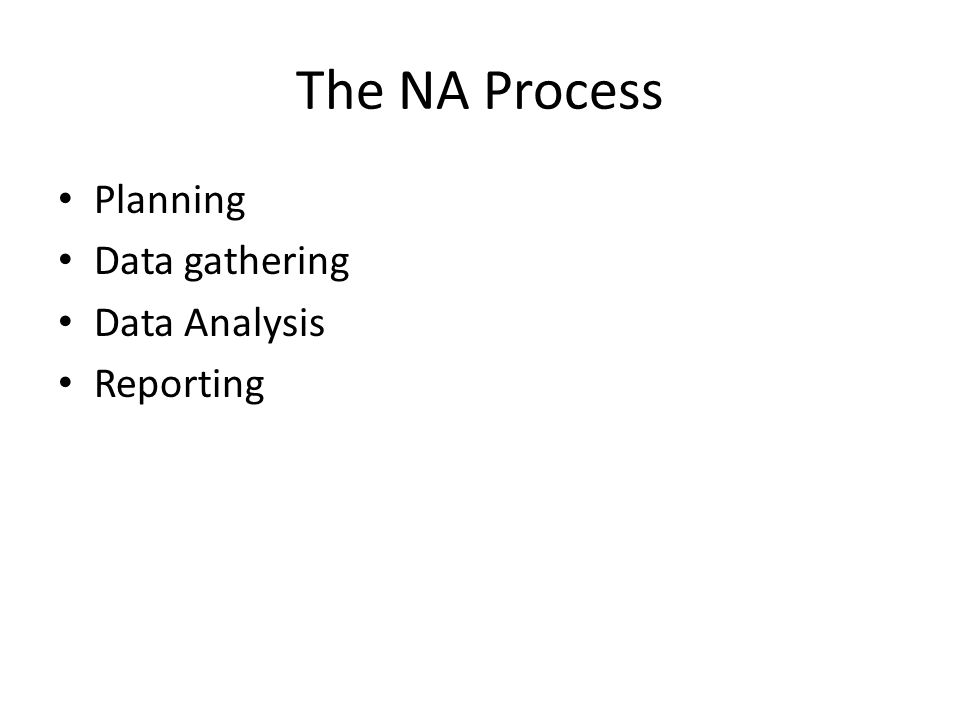 The NA Process Planning Data gathering Data Analysis Reporting