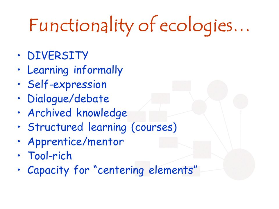 Functionality of ecologies… DIVERSITY Learning informally Self-expression Dialogue/debate Archived knowledge Structured learning (courses) Apprentice/