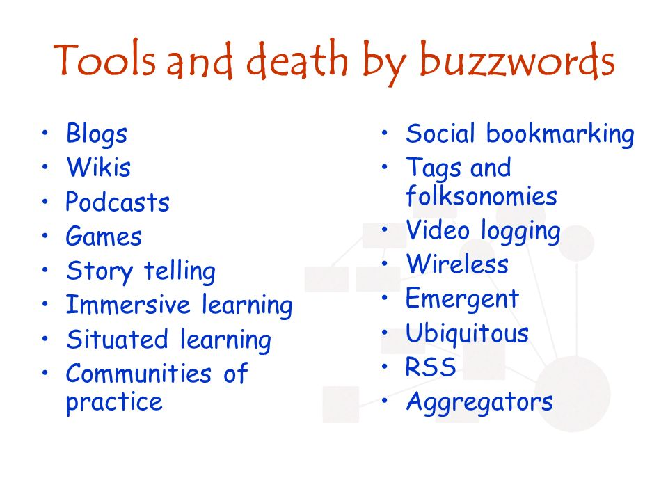 Tools and death by buzzwords Blogs Wikis Podcasts Games Story telling Immersive learning Situated learning Communities of practice Social bookmarking