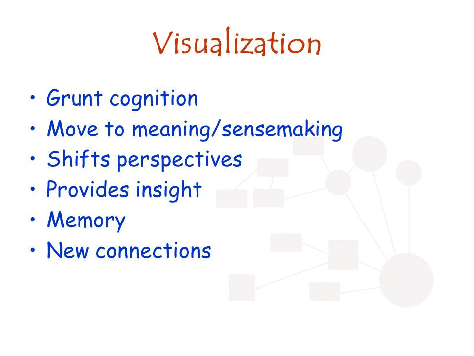 Visualization Grunt cognition Move to meaning/sensemaking Shifts perspectives Provides insight Memory New connections