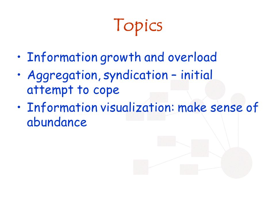 Topics Information growth and overload Aggregation, syndication – initial attempt to cope Information visualization: make sense of abundance