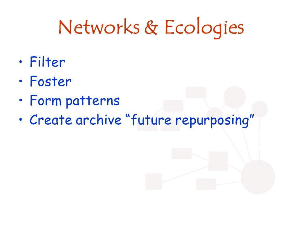 Networks & Ecologies Filter Foster Form patterns Create archive future repurposing