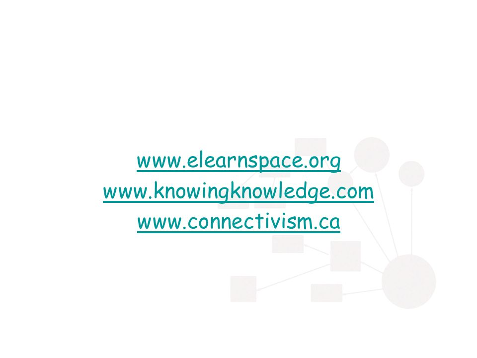 www.elearnspace.org www.knowingknowledge.com www.connectivism.ca