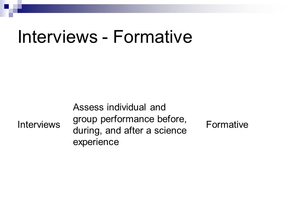 Interviews - Formative Interviews Assess individual and group performance before, during, and after a science experience Formative