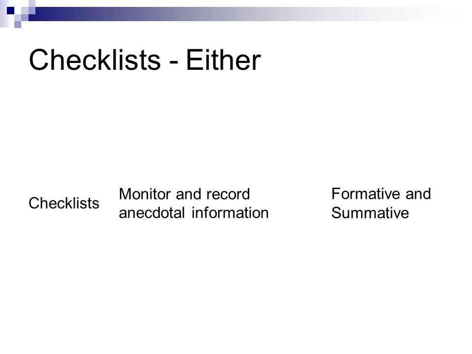 Checklists - Either Checklists Monitor and record anecdotal information Formative and Summative