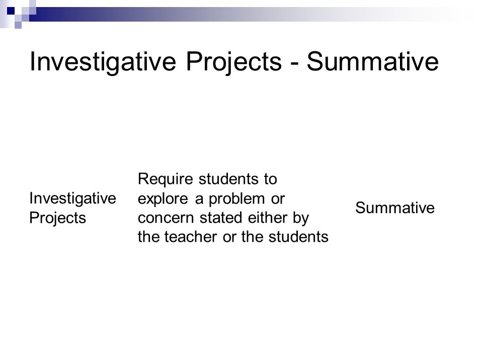 Investigative Projects - Summative Investigative Projects Require students to explore a problem or concern stated either by the teacher or the student