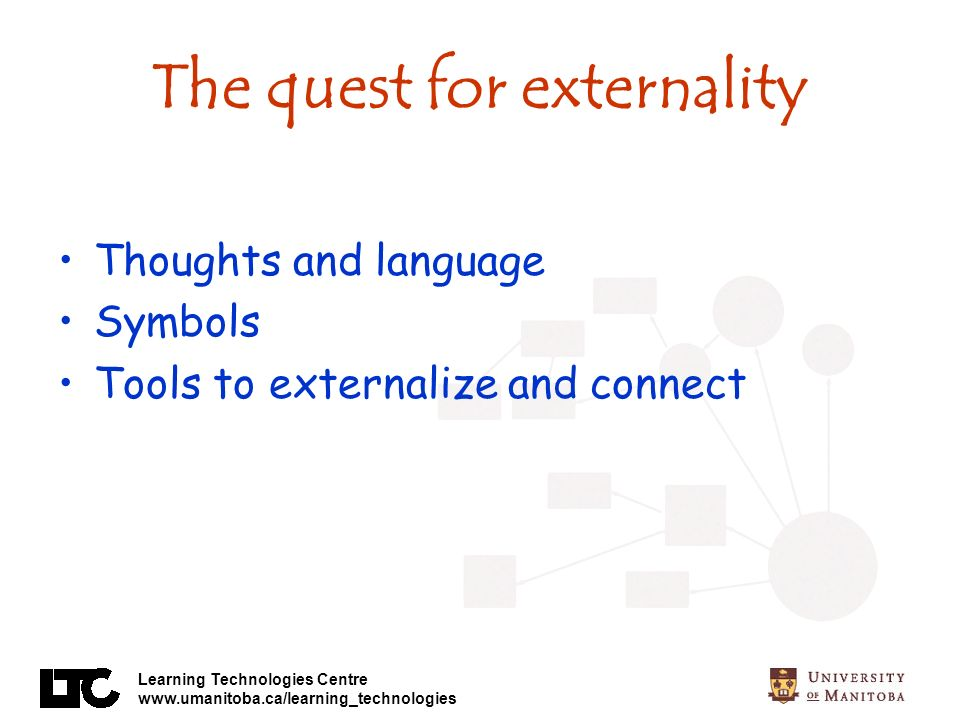 Learning Technologies Centre www.umanitoba.ca/learning_technologies The quest for externality Thoughts and language Symbols Tools to externalize and connect