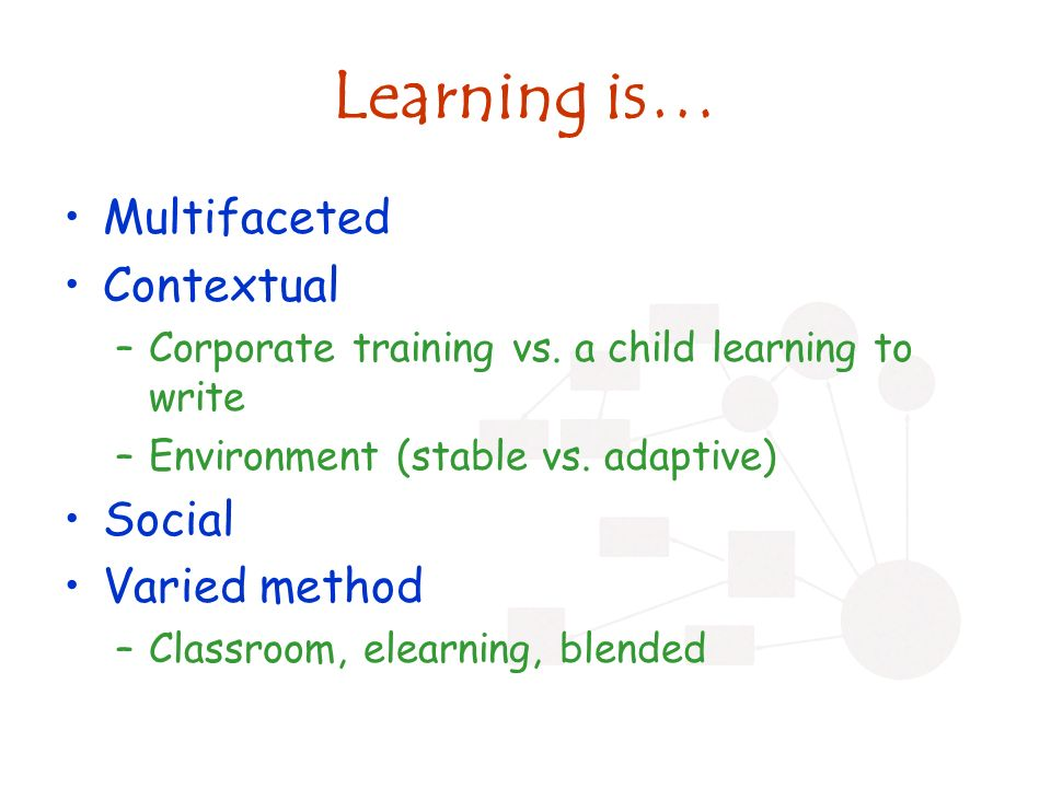 Learning is… Multifaceted Contextual –Corporate training vs.