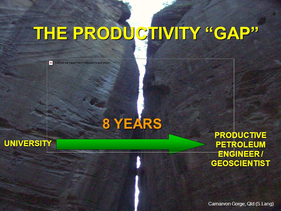 THE PRODUCTIVITY GAP UNIVERSITY PRODUCTIVE PETROLEUM ENGINEER / GEOSCIENTIST 8 YEARS Carnarvon Gorge, Qld (S.Lang)