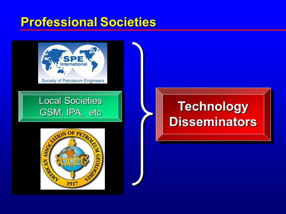 Professional Societies Local Societies GSM, IPA, etc TechnologyDisseminators