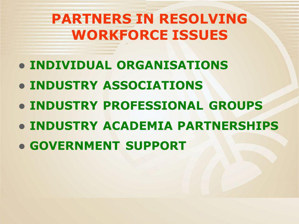 PARTNERS IN RESOLVING WORKFORCE ISSUES INDIVIDUAL ORGANISATIONS INDUSTRY ASSOCIATIONS INDUSTRY PROFESSIONAL GROUPS INDUSTRY ACADEMIA PARTNERSHIPS GOVE