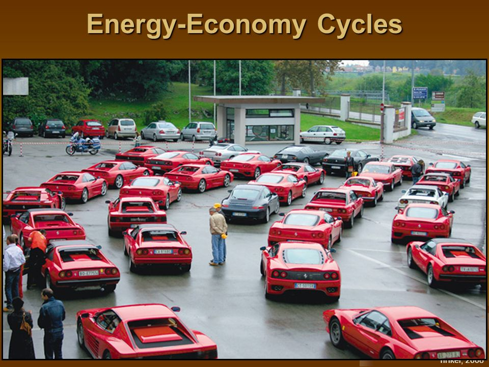 Tinker, 2008 Energy-Economy Cycles Global oil demand/supply (D/S) is tight Currencies are strong or weak Speculators hedge against currencies by buying oil Tight D/S and speculation drive up the price of oil High price dampens energy demand Lower D/S, excess production capacity (short term), weak economy drive oil price down Global interdependence impacts global markets Lower oil prices help stabilize the economy and…