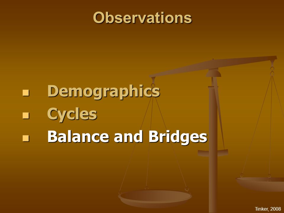 Tinker, 2008 Demographics Demographics Cycles Cycles Balance and Bridges Balance and Bridges ObservationsObservations