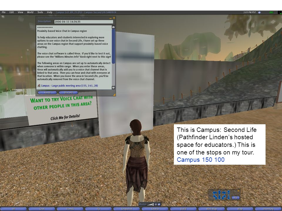 This is Campus: Second Life (Pathfinder Lindens hosted space for educators.) This is one of the stops on my tour.