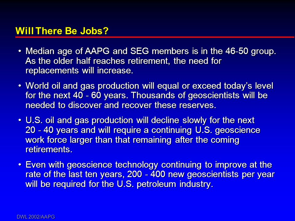 DWL 2002/AAPG Will There Be Jobs? Median age of AAPG and SEG members is in the 46-50 group. As the older half reaches retirement, the need for replace