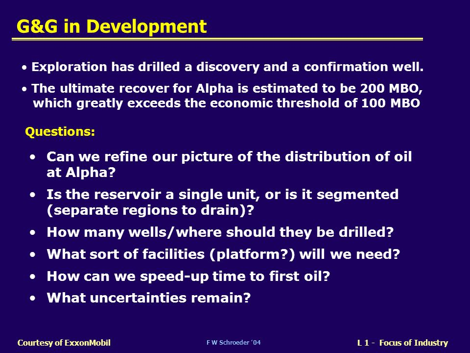 F W Schroeder 04 L 1 - Focus of IndustryCourtesy of ExxonMobil G&G in Development Can we refine our picture of the distribution of oil at Alpha? Is th
