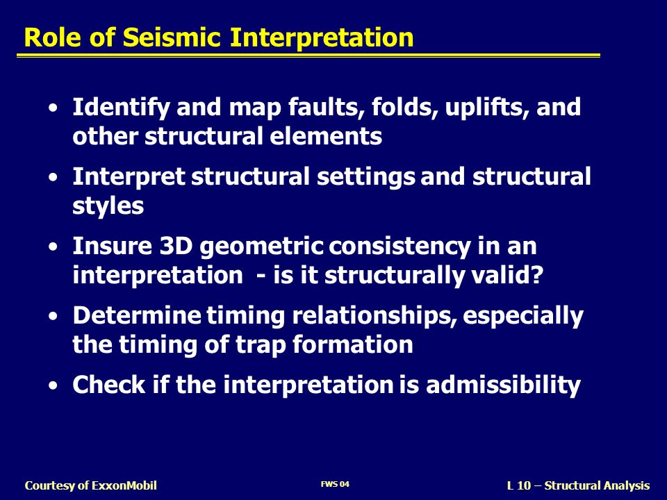 FWS 04 L 10 – Structural AnalysisCourtesy of ExxonMobil Interpreting Faults Structural Observations Fault segments on seismic lines Fault plane orientation Sense of motion Magnitude of offset Range of depths Relative timing – when faults moved – when structures grew Structural Concepts Tectonic Setting – Divergent zones – Convergent zones – Strike-slip zones – Mobile substrate How Structures Evolve – Fault-bend folds – Fault-propagation folds – Salt movement – etc.