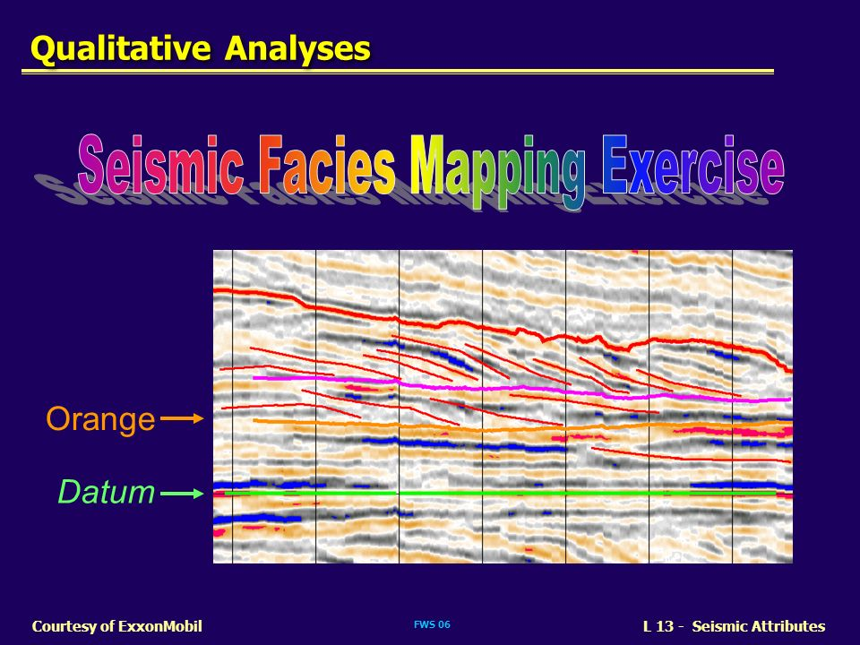 FWS 06 L 13 - Seismic AttributesCourtesy of ExxonMobil Orange Datum Qualitative Analyses
