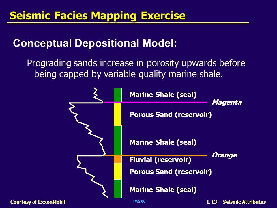 FWS 06 L 13 - Seismic AttributesCourtesy of ExxonMobil Marine Shale (seal) Porous Sand (reservoir) Marine Shale (seal) Porous Sand (reservoir) Fluvial