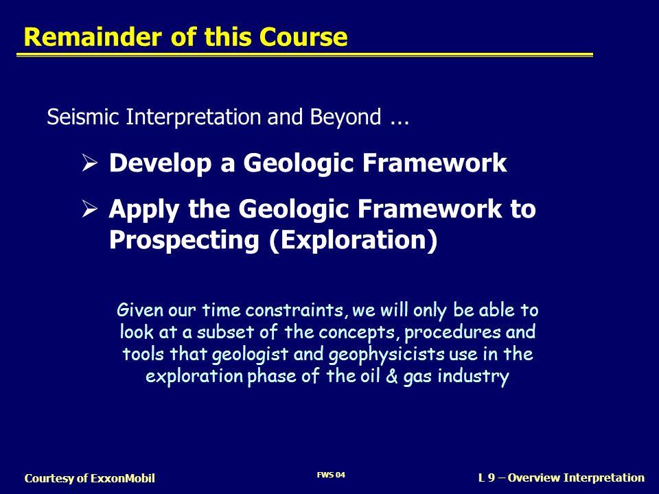 FWS 04 L 9 – Overview Interpretation Courtesy of ExxonMobil Remainder of this Course Seismic Interpretation and Beyond … Develop a Geologic Framework