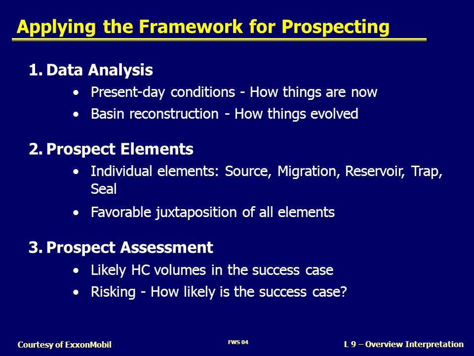 L 9 – Overview Interpretation Courtesy of ExxonMobil Applying the Framework for Prospecting 1.Data Analysis Present-day conditions - How things are no