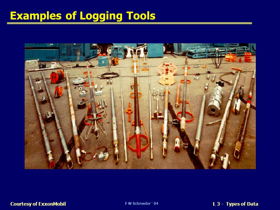 F W Schroeder 04 L 3 - Types of DataCourtesy of ExxonMobil Examples of Logging Tools