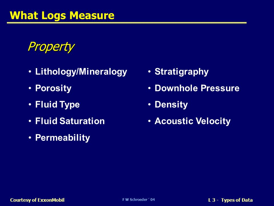 F W Schroeder 04 L 3 - Types of DataCourtesy of ExxonMobil What Logs Measure Lithology/Mineralogy Porosity Fluid Type Fluid Saturation Permeability Pr