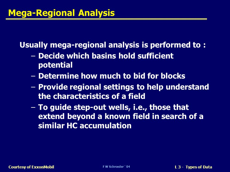 F W Schroeder 04 L 3 - Types of DataCourtesy of ExxonMobil Mega-Regional Analysis Usually mega-regional analysis is performed to : –Decide which basin