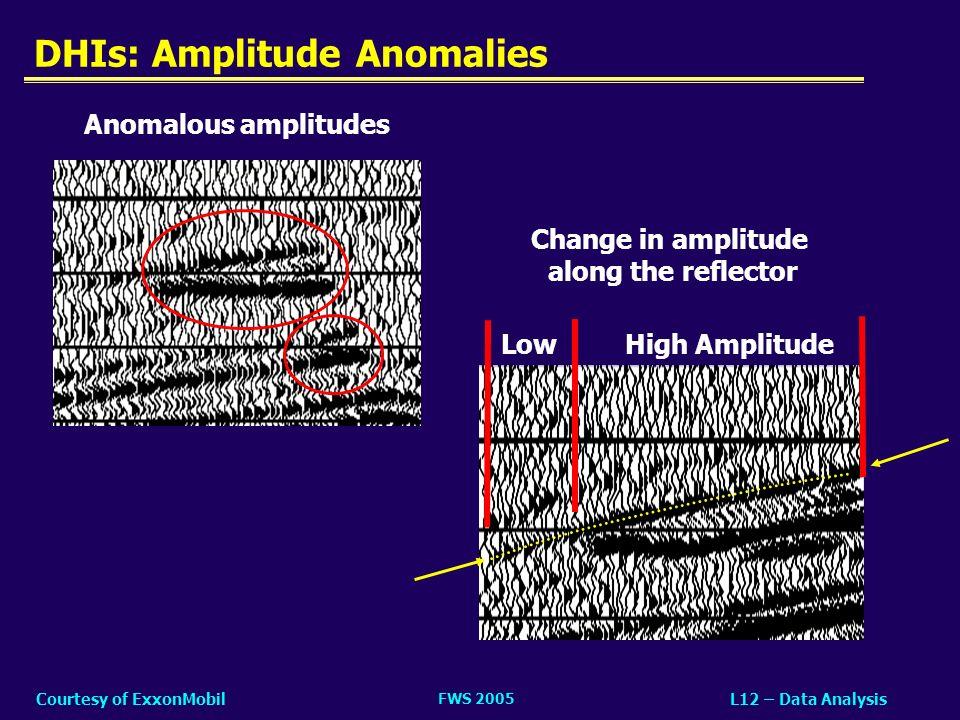 FWS 2005 L12 – Data AnalysisCourtesy of ExxonMobil DHIs: Amplitude Anomalies High AmplitudeLow Change in amplitude along the reflector Anomalous ampli
